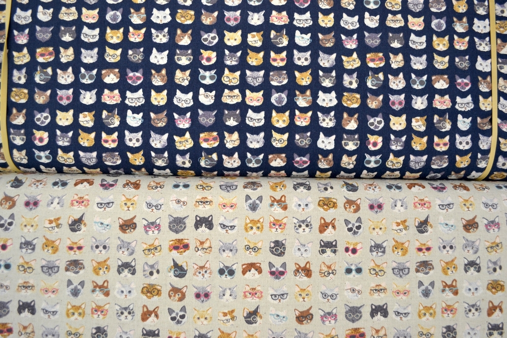 Cats In Glasses Linen Fabric