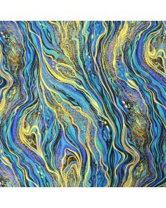 Abstract Marbling Metallic Peacock Palazzo, Timeless Treasures