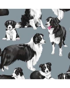 Border Collies C7365 Blue Fabric