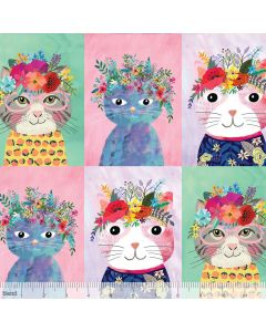 Floral Kitty from Floral Pets by Mia Charro for Blend Fabrics