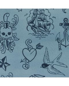 Ink Work Blue Tonal tattoo fabric alexander henry 8836B