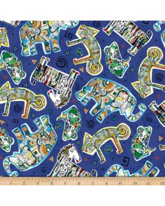 Tossed Geo Animals Blue, Quilting Treasures