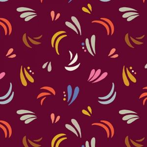 Meadow Safari in Burgundy from Dashwood Studios. Motifs in blue pink grey orange and brown against a deep wine colour background.