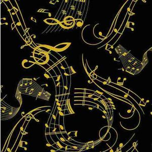 gold metallic music notes black timeless treasure fabric