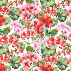 Pink and Red Florals White WIDE, John Louden