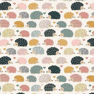 Prickles cream hedgehog pink blue heart