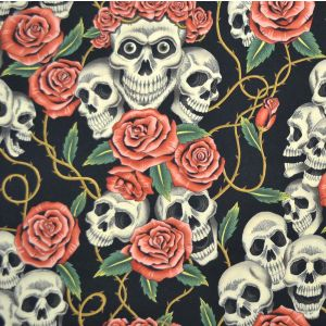 Rose Tattoo Dark Tea Fabric - Alexander Henry