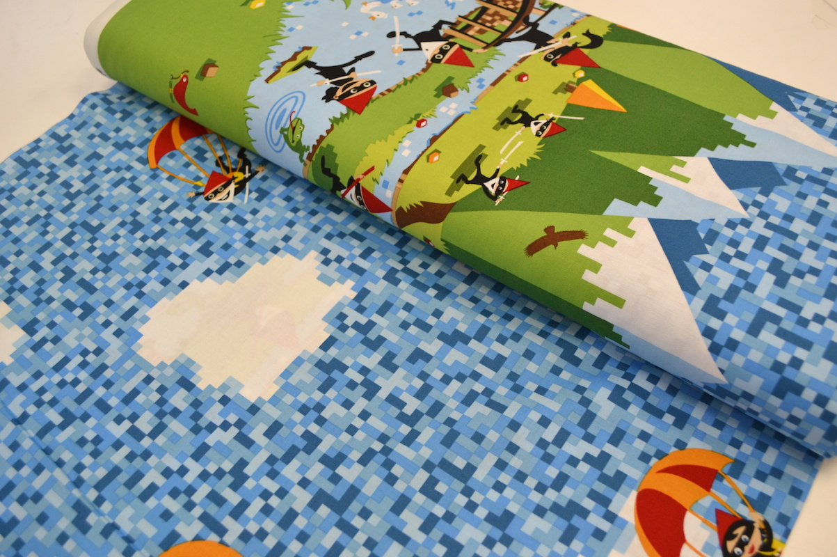 1m ninja gnomes minecraft panel michael miller fabric per for Minecraft fabric by the yard