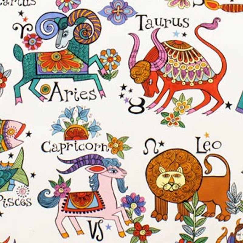 Zodiac brite per metre alexander henry astrology fun for Astrology fabric